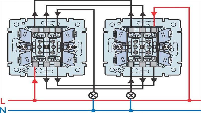 Проходной выключатель из двух мест схема