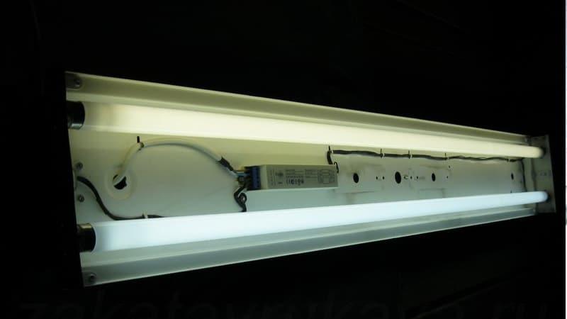 устройство светильника с люминесцентными лампами