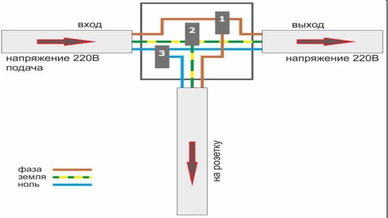 схема подключения двойного выключателя света