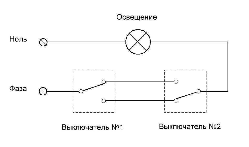 Картинка схема подключения выключателя