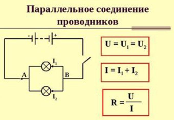 Схема и формулы параллельного соединения приборов