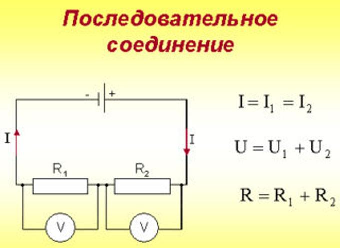 Схема последовательного соединения