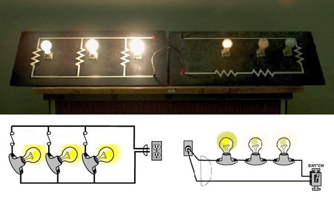 Сравнение свечения ламп при разном соединении