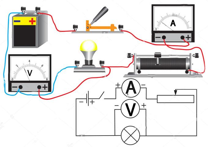 Схема подключенного вольтметра и амперметра