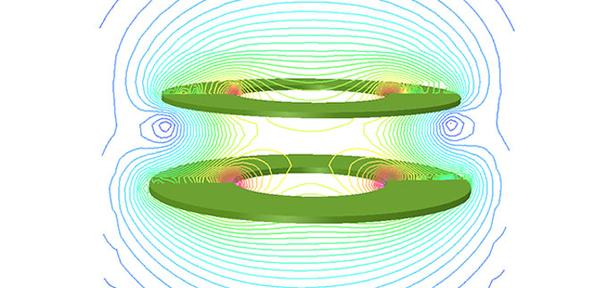 электромагнитное поле между двумя магнитами