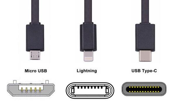 разъемы смартфонов MicroUSB, Lightning, USB Type-C